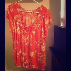 Orange floral top size XL Worn 1 time. Size XL. Merona Tops