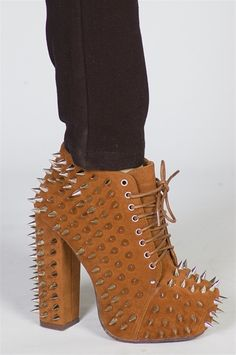Studded Chunky Heel Platforms - Camel  Add some edge to your wardrobe with these platform lace-ups. Chunky heel shoes have silver tone spike detail. Keep it simple on top and match with slinky leggings or skinny jeans and a basic tee