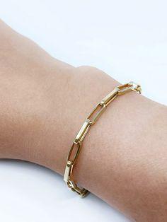 14K Solid Gold PaperClip Bracelet/ Boyfriend Bold Bracelet / Minimalist /Everyday Bracelets / Italian Gold / Bold / Real Gold/ Summer Chain Solid Gold Bracelet, Colorful Bracelets, Gold Style, Turquoise Jewelry, Feel Fantastic, Sterling Silver Rings, White Gold, Chain, Summer