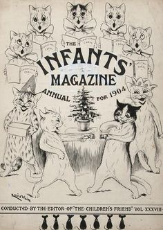 "Louis Wain - Title-page for ""The Infants Magazine Annual for 1904"" - original pen and ink drawing of the title for vol. XXXVIII, signed by the artist at lower left-hand corner"