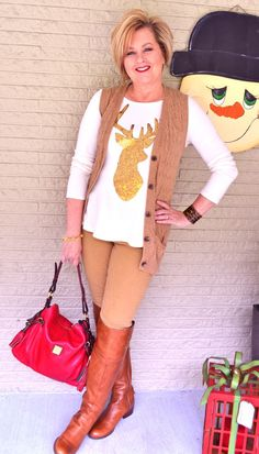 Fashion over 40 for the everyday woman. How to style over the knee boots @50isnotold.com
