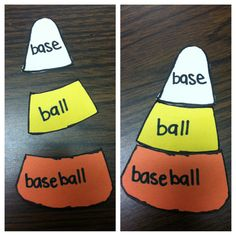 Compound words candy corn! Cute idea for fall.