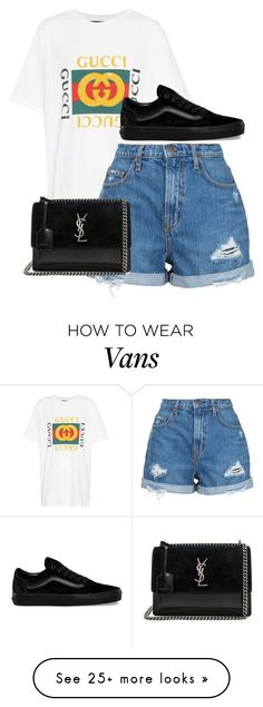 """Untitled #1291"" by hunterxx on Polyvore featuring Gucci, Nobody Denim, Vans and Yves Saint Laurent"