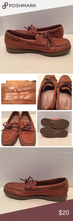 Rockport Brown Leather Laces 7.5 7 1/2  Boat Shoes Rockport Brown Leather Laces 7.5 m womens  Boat Shoes Flats.  Show little wear. Rockport Shoes Flats & Loafers