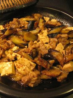 "Eggplant, Tofu, and Pork...perfect trio to cook in miso sauce.  I call the sauce ""black miso sauce"" , because it's a mixture of Hatcho M..."