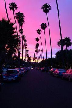 pink, cars, love, sunset, palm trees, pretty, california, dramatic