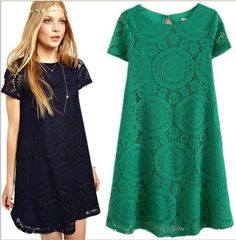 New Women's summer loose Hollow lace tops shirt dress 4 colors