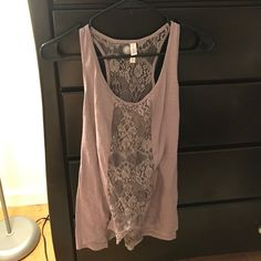 I just discovered this while shopping on Poshmark: Lace Panel Purple Tank Top. Check it out!  Size: S