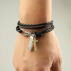 Heißer Verkauf Mode Für Männer Schmuck Vintage Leder Armband Mens Kreuz Armbänder Beste Freundschaft Armreifen Pulseras MB1759