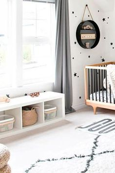 We are wild for a galaxy-themed gender-neutral nursery. Your baby will be off to sweet dreams in no time in their galaxy-themed gender-neutral nursery. Keep reading as we share 6 gender-neutral nursery ideas. Hadley Court Interior Design Blog by Central Texas Interior Designer, Leslie Hendrix Wood. White Nursery, Nursery Neutral, Lit Wallpaper, Nursery Design, Nursery Themes, Shades Of Black, Gender Neutral, New Baby Products, Interior Design