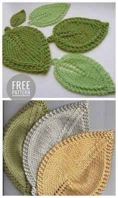 Crochet and Knitting Needles Astrakhan Stitch Leaf Knitting Pattern, Knitted Flower Pattern, Crochet Leaf Patterns, Dishcloth Knitting Patterns, Crochet Leaves, Knitted Flowers, Crochet Motif, Knitting Stitches, Free Knitting