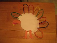 Paper plate turkey with pipe cleaners