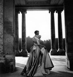Wenda Rogerson (Mrs. Norman Parkinson 1923-1987) wearing gown by Christian Dior, photo By Clifford Coffin at Grand Trianon, Versailles, August 17, 1948