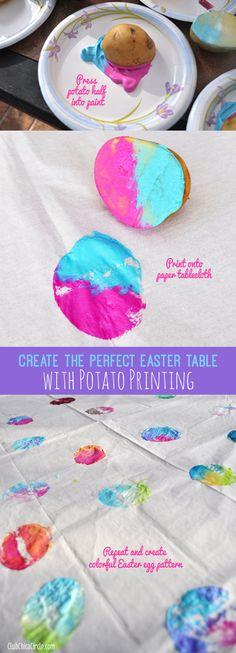 Easy Easter Egg Potato Printing Craft Idea for Kids  www.clubchicacircle.com