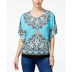 Jm Collection Embellished Butterfly-Sleeve Blouse, ($12) ❤ liked on Polyvore featuring tops, blouses, turquoise, rhinestone tops, blue blouse, rhinestone embellished tops, jm collection tops and embellished blouse