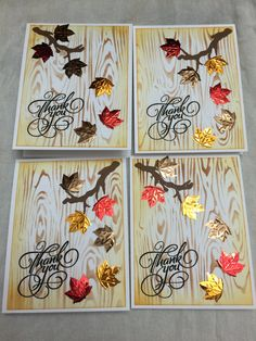 Thank you cards set of 4 by misslovecrafting on Etsy