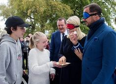 Prince Haakon's and Princess Mette-Marit's Nord-Trondelag city tour, this time at Frosta  tasting local vegetables/ Sept, 2017