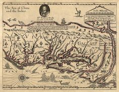 Antique map of Virginia and Maryland from c1667