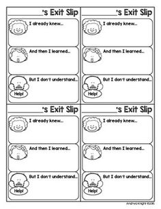 """Sample Sheet from """"Open-Ended Differentiated Exit Slips for Any Subject, K-5"""": Quick informal assessments to inform future instruction and potential remedial needs. $ #exitslips"""