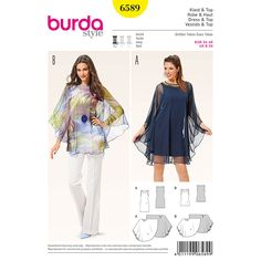 Misses Dress and Top Burda Sewing Pattern 6589. Size 8-20.