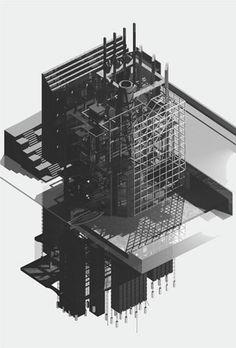 AXO_Steve Baumann, Barlett School of Architecture Architecture Graphics, Architecture Drawings, Architecture Details, Axonometric Drawing, Bartlett School Of Architecture, Arch Model, Models, Photoshop, Planer
