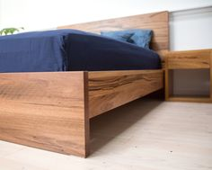 Custom timber furniture for your bedroom Timber Bed Frames, Timber Beds, Platform Bed Designs, Diy Platform Bed, Bed Frame And Headboard, Diy Bed Frame, Timber Furniture, Bedroom Furniture, Japanese Bed Frame