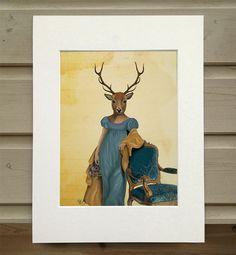Deer Print Deer in Blue Dress deer art print deer by LoopyLolly
