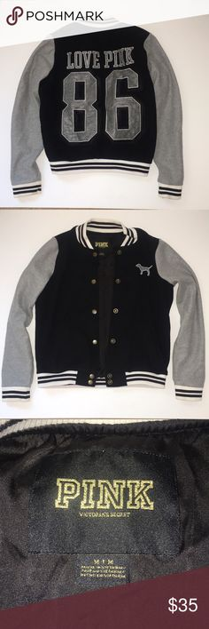 PINK Varsity Jacket Super stylish PINK varsity jacket  Perfect with a casual outfit!  Even though it is a medium, I usually wear a small and it fits me just fine Jackets & Coats
