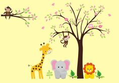 Animal Stickers - Safari Wall Decals - Jungle Wall Decals - Nursery Wall Decals - Kids Room Decals - Baby Pink - Girls Baby Art - x Kids Room Wall Decals, Animal Wall Decals, Nursery Wall Decals, Nursery Room, Tree Decals, Baby Art, Tree Wall, Wall Stickers, Colorful Backgrounds