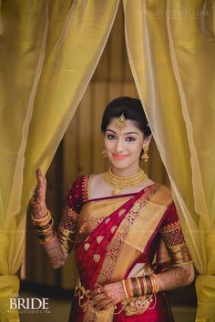 South indian bridal saree wedding outfits New ideas South Indian Wedding Saree, Indian Bridal Sarees, Wedding Silk Saree, South Indian Weddings, India Wedding, South Indian Bride Jewellery, Bengali Jewellery, Indian Bridal Wear, Bridal Lehenga