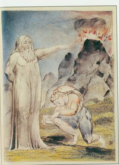 "Illustrations to John Bunyan's *The Pilgrim's Progress* By William Blake:  7 Worldly Wiseman gives Christian directions to the house of Mr. Legality. ""By that hill you must go, and the first house you come at is his"""