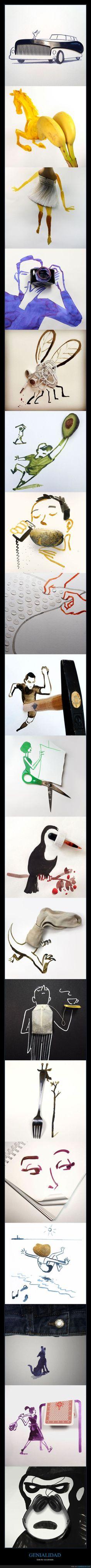 Ilustrador completa dibujos con objetos del día a día - Este tío va sobrado   Gracias a http://www.cuantarazon.com/   Si quieres leer la noticia completa visita: http://www.estoy-aburrido.com/ilustrador-completa-dibujos-con-objetos-del-dia-a-dia-este-tio-va-sobrado/