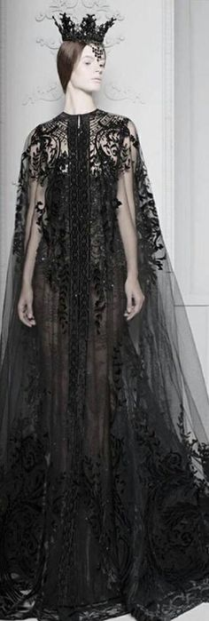 *ancient queen* by Michael Cinco Sheer black cape. Black Crown