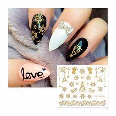 LCJ  3D Nail Stickers Beauty  Hot Gold Christmas Design Nail Art Charms Manicure Bronzing Decals Decorations Tools  6004 #Affiliate