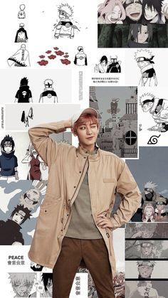 chanyeol and naruto. Kyungsoo, Park Chanyeol Exo, Kpop Exo, Exo Anime, K Pop, Kpop Wallpaper, Pastel Wallpaper, Sehun Cute, Haikyuu Karasuno