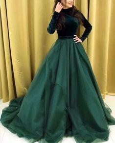 green party dress long sleeve evening dress Velvet And Organza Prom Dresses high neck formal dress Long Gown Dress, Lehnga Dress, Evening Dresses With Sleeves, The Dress, Long Sleeve Evening Gowns, Lehenga Choli, Green Party Dress, Party Wear Dresses, Ball Dresses