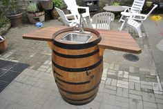 DIY barrel projects are an excellent example how to make something beautiful, but also very useful, a decoration or some functional object for your house. Wine Barrel Sink, Barrel Table, Wine Barrels, Outdoor Sinks, Diy Outdoor Kitchen, Outdoor Decor, Outdoor Bars, Outdoor Projects, Wine Barrel Furniture