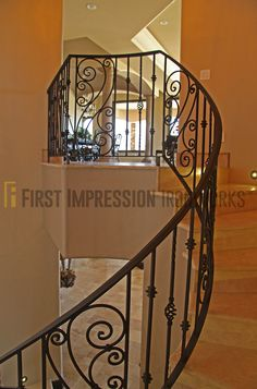 Stunning wrought iron railing from #FirstImpressionIronworks http://www.firstimpressionsecuritydoors.com/product-category/railing/