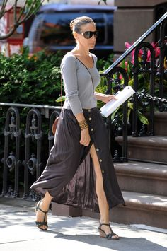 Sarah Jessica Parker's look felt effortless (and timeless!) thanks to a simple tee and a classic skirt that showed just enough leg. - www.fabsugar.com