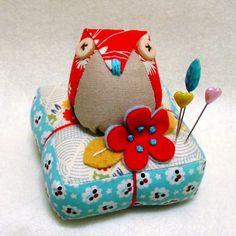 Owl Birdie on pincushion - owl pincushion - made to order.