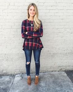 Preppy in Plaid // Our Preppy Flare Top pairs great with distressed denim to add some grunge to a classic look! #peachdontkillmyvibe #fallfashion #preppyinplaid http://shopcheekypeach.com/products/preppy-flare-top-1