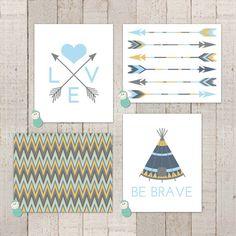Tribal / Aztec Nursery Art Prints - can be made in custom colors too!