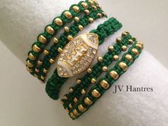 Green and gold bracelet Bracelet Clasps, Beaded Bracelets, Football Bracelet, University Of South Florida, Gold Rhinestone, Green And Gold, Extra Money, Handmade, Etsy