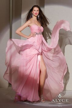 You'll be sweet yet seductive in this sexy, soft flowing silky chiffon gown. #homecoming #longdress