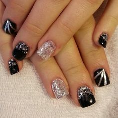 Black and silver gel nails