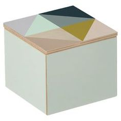 """Birch box with a multicolor triangle motif.   Product: BoxConstruction Material: Birch plywoodColor: MultiDimensions: 3.54"""" H x 3.93"""" W x 3.93"""" D"""