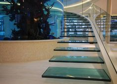 This is an amazing staircase designed by Diapo, a cantilevered glass helical staircase with large cylinder aquarium at the center of the staircase. The aquarium Glass Stairs, Floating Stairs, Home Stairs Design, House Design, Interior Stairs, Cantilever Stairs, House Stairs, Stairway To Heaven, City Buildings