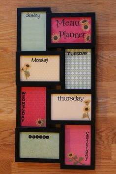 "Menu Planner or if you are a ""Fly Lady"" Fan: Daily Routine Planner. The routines go behind the glass on the pretty paper for the children to refer to.  Many hands make work lighter."