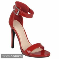 Journee Collection Women's 'Perton' Open Toe Ankle Strap Stilettos