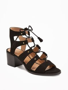 Sueded Gladiator Heeled Sandals for Women